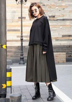 2 Piece Set Pleated Dress + Cover Up Sweater - - Buddha Trends Look Fashion, Hijab Fashion, Fashion Dresses, Womens Fashion, Modesty Fashion, Diy Dress, Boho Dress, Dress Card, Hijab Outfit