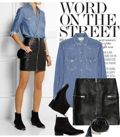 How to wear denim skirt winter fashion ideas Denim Skirt Winter, Winter Skirt Outfit, Blue Shirt With Jeans, Denim Shirt Dress, Denim Shirts, Black Jeans, Black Leather Skirt Outfits, Looks Camisa Jeans, Leder Outfits