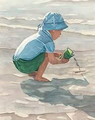 Image result for watercolour beach scenes with children