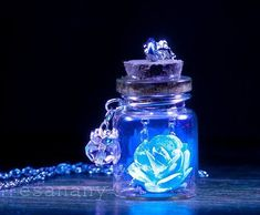 Glowing Flowers, Dark Flowers, Rose Flowers, Bottle Necklace, Rose Necklace, Pendant Necklace, Pendant Jewelry, Crystal Necklace, Bullet Necklace