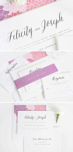 Rustic Romance Wedding Invitations Suite | Purple, Pink, and dahlias!