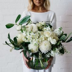 Blow them away with an amazing vase arrangement. Your Clover florist will handpick the freshest and most beautiful seasonal flowers in store for your bouquet. Your Clover florist will hand select a vase for you to compliment the arrangement.  NB The bouquet pictured is amazing in size. White Floral Arrangements, Vase Arrangements, Bar Mitzvah Centerpieces, Clover Flower, Seasonal Flowers, Table Flowers, Compliments, Most Beautiful, Bouquet