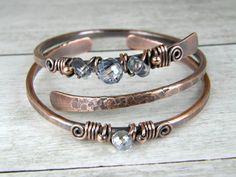 Copper Bangles, Aqua Crystal Bracelets , Set of Two, 2 Hammered Copper Bracelets, Wire Wrapped Bracelets, Stacking Bangles