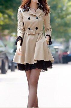 Nude and black coat dress
