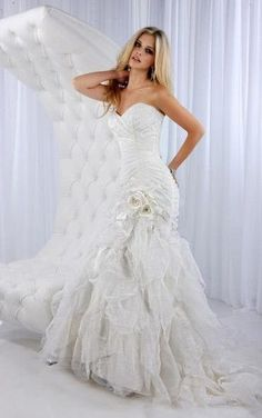 Ruched Mermaid Wedding Gown with Floral Appliques