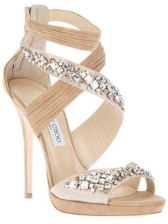 Nude leather sandals from Jimmy Choo featuring a multi-strap design with pleated and embellished overlapping panels, a rear zip fastening, a high stiletto heel and a leather sole.