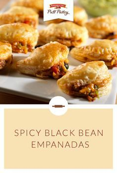 Pepperidge Farm Puff Pastry Spicy Black Bean Empanadas Recipe. These easy appetizers are full of flavor and are sure to be a hit at your next party. Rounds of Puff Pastry are filled with ground pork, black beans peppers, onions, spices, and cheese. Serve with sour cream or guacamole and pour yourself a margarita! This spicy appetizer is sure to warm winter's chill.