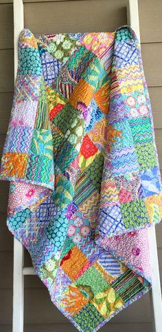 Ready to ship patchwork quilt, lap quilt, Kaffe Fassett fabrics quilt, pink…