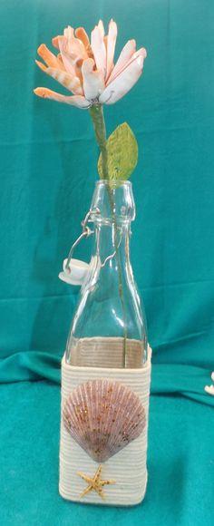 Shell Flower in a Bottle by TheGreenEyedTurtle on Etsy, $10.00