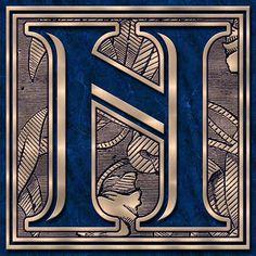 Presentation Alphabets: Drop Caps Letter N - Style 075