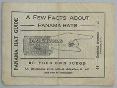 Vintage (c.1910-1920) Unblocked Panama Hat