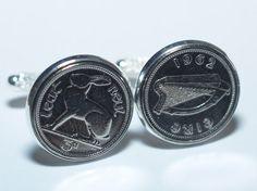 1934 Irish coin cufflinks- Great coin gift idea. Genuine Irish 3d threepence coin cufflink 80th birthday hare and harp on Etsy, $39.99