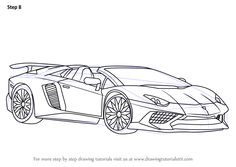 Learn How to Draw Lamborghini Aventador LP750-4 SV Roadster (Sports Cars) Step by Step : Drawing Tutorials