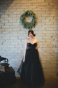 Black Floor Length Strapless Gallery Gown by Ouma.