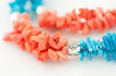 coral beaded necklace / blue and pink CORAL summer by DevikaBox, $33.00