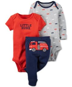 Carter's Baby Boys' 3-Pc. Fire Engine Bodysuits