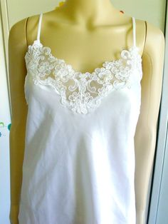 Vintage 1980s Short Slip New With Tag White Satin Lace Pearls Sequins California Dynasty 80s