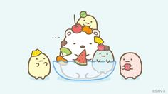 Sumikko gurashi dessert Kawaii Drawings, Colorful Drawings, Cute Drawings, Sanrio Characters, Cute Characters, We Bare Bears, Pictures To Draw, Cute Pictures, Japanese Cartoon