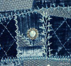 crazy quilting stitches on denim patches
