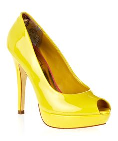 They call me mellow yellow!! Take a look at this Yellow Svana Peep-Toe Pump by Ted Baker on #zulily today!