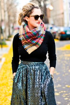 A Lacey Perspective: Holiday Sparkle. I love how the plaid scarf pairs so well with the sparkle skirt!
