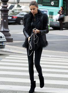 Adriana Lima.. black fashion.. Ahead of Paris Fashion Week 2013..