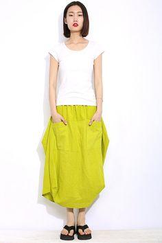 Maxi Skirt Two Big Pockets Elastic Waist Skirt