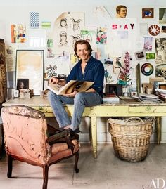 The world of John Derian, a celebrated decoupage artist, is a magical place full of printed images from the past, antiques and assorted curiosities. Home Interior, Interior Design, Boho Home, Architectural Digest, Creative Studio, Decoration, Interior Inspiration, Living Spaces, Living Room