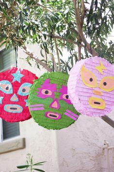 Luchador Piñatas for Cinco De Mayo! Wrestling Birthday Parties, Happy Birthday Parties, Birthday Party Themes, Birthday Ideas, Mexican Birthday, Mexican Party, Mexican Pinata, Wwe Party, Mexican Babies