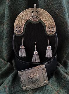 Beautiful Celtic Cross black springbok sporran and belt from Africa's busiest sporran maker. Scotland Kilt, Kilt Accessories, Celtic Dress, Tartan Tie, Scottish Kilts, Men In Kilts, Afro, Tassel Necklace, Footwear