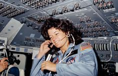 This week in 1983, space shuttle Challenger, mission STS-7, launched on a six-day mission to deploy two communications satellites, one for Canada and one for Indonesia. This was the first time the shuttle flew with a crew of five and the first time a U.S. woman was in space. Astronauts In Space, Nasa Astronauts, Today In History, Women In History, Programme Apollo, Lgbt Celebrities, Jackie Joyner Kersee, Space Shuttle Challenger, Nasa History