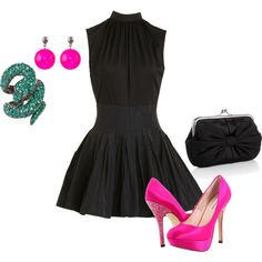 black party dress with bright pink heels
