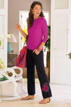 Embroidered Bouquet Pants - Stylish Lounge Pants, Black Knit Pants   Soft Surroundings