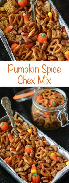 Pumpkin Spice Chex Mix - you can make it in the oven or microwave!