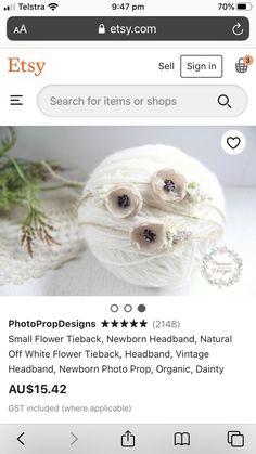 Newborn Photo Props, Newborn Photos, Small Flowers, White Flowers, Vintage Headbands, Newborn Headbands, Teddy Bear, Etsy, Design
