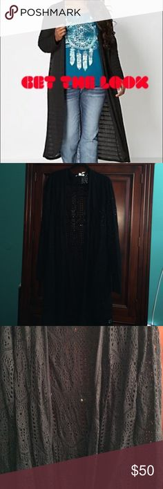 🦃Beautiful black crochet knit long duster 1x Black knit long duster 1x/XL beautiful knit design NWT Sweaters Cardigans