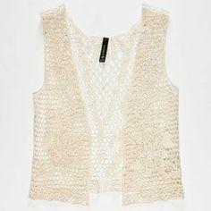 FULL TILT Floral Crochet Girls Vest