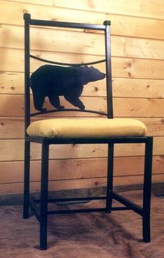 The Bear Chair seat measures 16 inches Wide. Square tubing make up the frame of this chair with round tubing accents.  Shown with a bear but can be made to hold any animal or design of your choice. You can select the standard brown leather or provide your own material to have the seat covered at no additional cost. Available in four exquisite finishes: Flat Black, Polished (Natural Iron), Hammered Black and Rust. FREE SHIPPING IS AVAILABLE TOO! http://www.okdecor.com/bear-chair.html $399.95