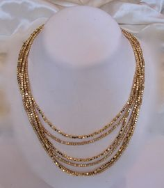 Your place to buy and sell all things handmade Multi Strand Necklace, Necklace Set, Beaded Necklace, Gold Necklace, Metal Jewelry, Gold Jewelry, Jewelery, Matte Gold, Necklaces