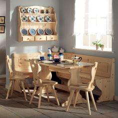 PARADISO, comodo, confortevole e accogliente giropanca in legno di pino in stile rustico con schienale intagliato e decorato.