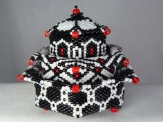 Birthday present for my husband.  Followed a pattern from Julia Pretl's, Little Beaded Boxes