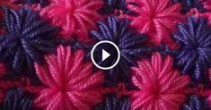 Pattern Asterisks of puff stitch Stitch Patterns, Knitting Patterns, Crochet Patterns, Easy Crochet Stitches, Rainbow Crochet, Manta Crochet, Crochet Videos, Drops Design, Paper Decorations