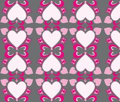 Heart Deco  (Art Deco Valentine) fabric by fabricfarmer_by_jill_bull on Spoonflower - custom fabric  http://www.spoonflower.com/fabric/962195