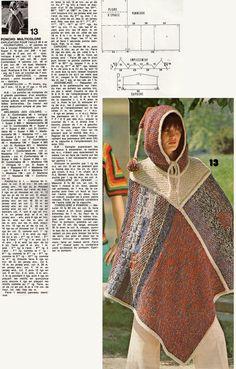 Un modèle de poncho publié dans Votre magazine tricot de juillet-août 1978.