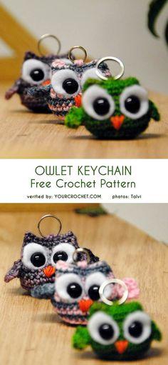 #freecrochetpatterns #amigurumipatterns #owl #keychain Owl Patterns, Crochet Stitches Patterns, Amigurumi Patterns, Crochet Owls, Love Crochet, Crochet Key Chain, Crochet Keychain Pattern, Easy Crochet Projects, Crochet Ideas