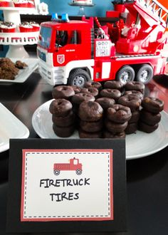 "firetruck party theme food ideas ""firetruck tires"" using chocolate donuts"