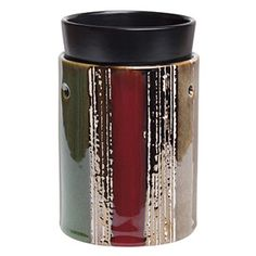 BRUSHSTROKES DELUXE SCENTSY WARMER - A multidimensional work of art, with alternating stripes of rusty red, taupe, and dark green highlighted by metallic brushstrokes. $46