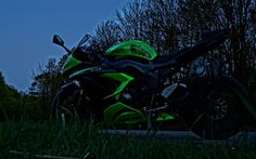 Kawasaki Ninja ZX-6R 636, darkness, superbikes, Kawasaki