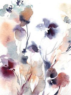 Résumé floral Original peinture à laquarelle Gary violet