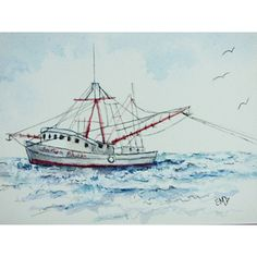 Nautical Art Miniature Paintings Small Art Lover Affordable Art Watercolor Ink Shrimp Boat Ocean Scene Office Desk Art Dollhouse Shadowbox ($33) found on Polyvore featuring home, home decor, wall art, sea painting, framed wall art, mini painting, miniature painting and ocean paintings